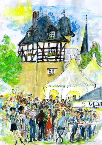 """Das Kunstwerk zu Menden à la carte 2019, geschaffen von Claudia Mölle von der Gruppe """"FreiraumGestalten""""."""